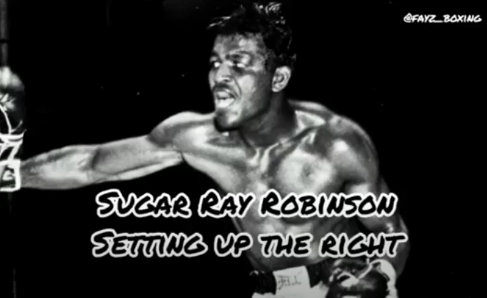 sugar ray robinson setting up the right hand